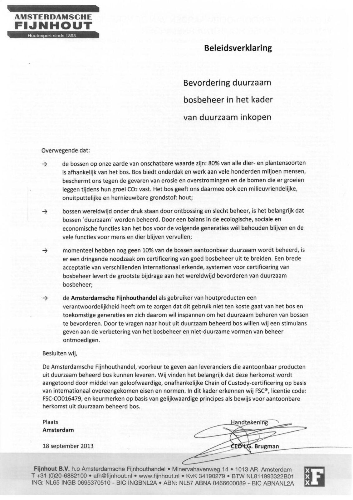 Beleidsverklaring Fijnhout